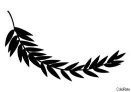 Трафарет Длинная ветка папоротника распечатать на А4 и скачать - Трафареты листьев