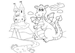 Добрый сказочный дракон распечатать разукрашку бесплатно - Драконы