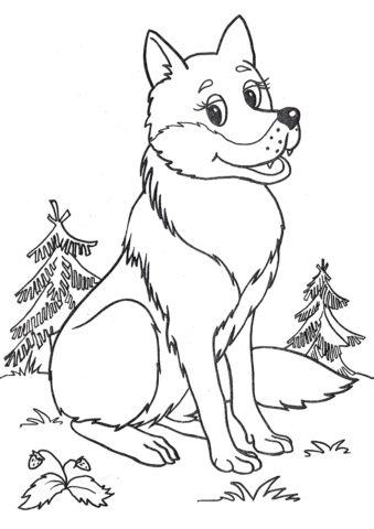 Добрый волк (Волки) распечатать бесплатную раскраску