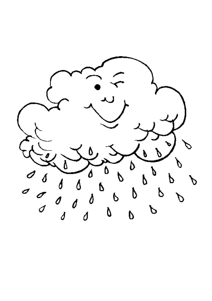 Раскраска Дождевое облако распечатать   Осень
