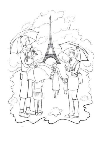 Дождливый Париж (Осень) раскраска для печати и загрузки