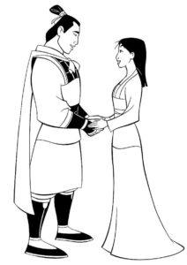 Долгожданная встреча возлюбленных (Мулан) распечатать разукрашку