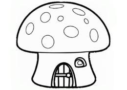 Распечатать раскраску Домик внутри грибка - Смурфики
