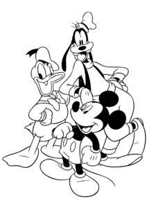 Разукрашка Дональд, Микки и Гуффи распечатать на А4 и скачать - Микки Маус
