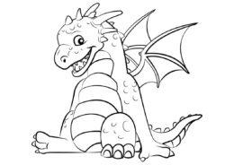 Довольный дракон (Драконы) раскраска для печати и загрузки