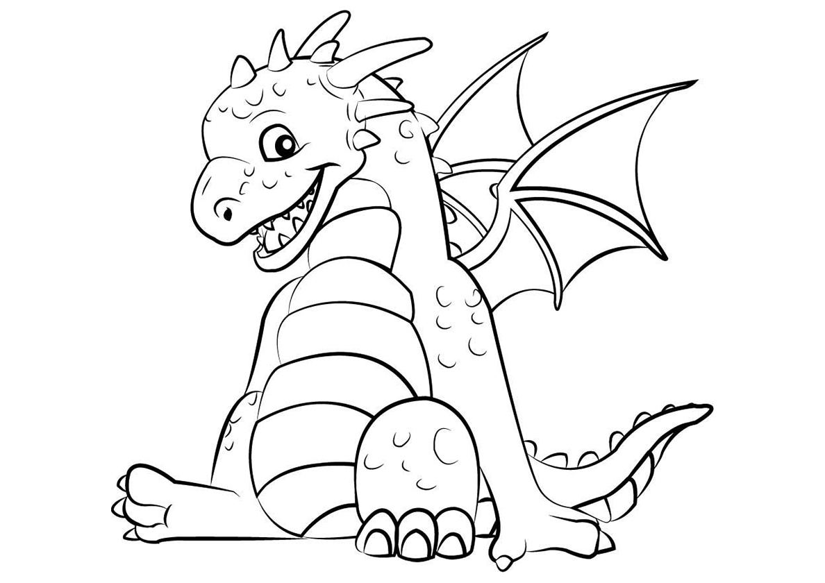 Раскраска Довольный дракон распечатать | Драконы