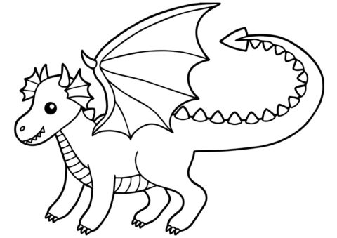 Дракон из детского рисунка раскраска распечатать бесплатно на А4 - Драконы