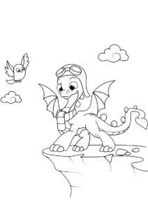 Разукрашка Дракончик на высоком обрыве распечатать и скачать - Драконы