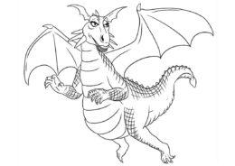 Драконы бесплатная раскраска - Дракониха из Шрека