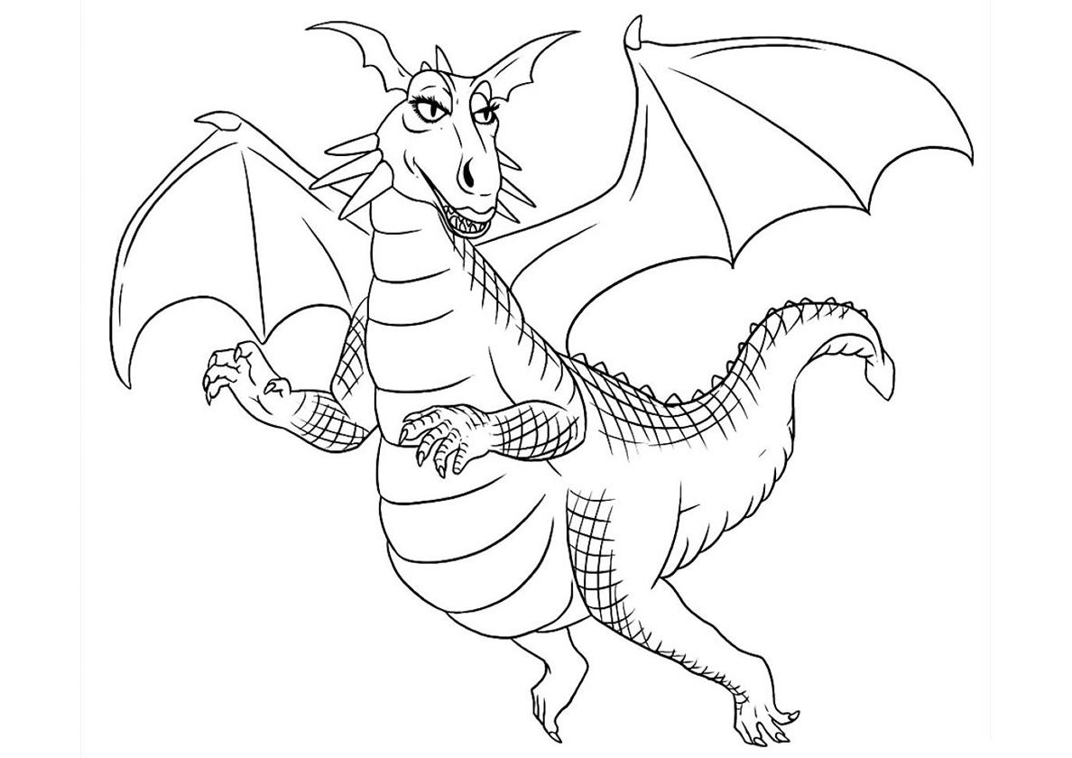Раскраска Дракониха из Шрека распечатать | Драконы