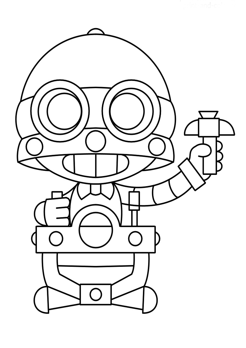 Раскраска Дружелюбный робот распечатать | Браво Старс