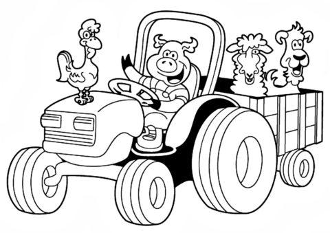 Разукрашка Дружные животные распечатать и скачать - Трактора