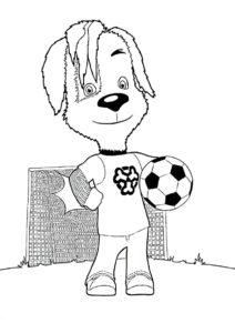 Барбоскины бесплатная раскраска - Дружок Барбоскин на футбольном поле