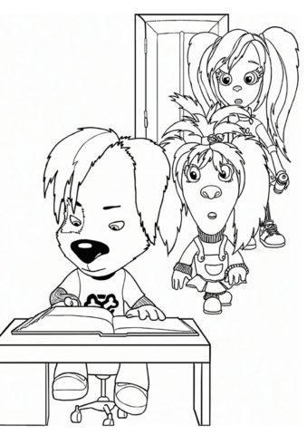Дружок за уроками - Барбоскины раскраска распечатать на А4