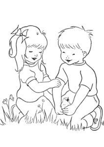 Распечатать раскраску Друзья - Весна