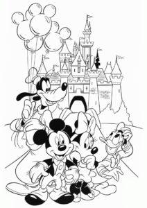 Друзья после праздника (Микки Маус) раскраска для печати и загрузки