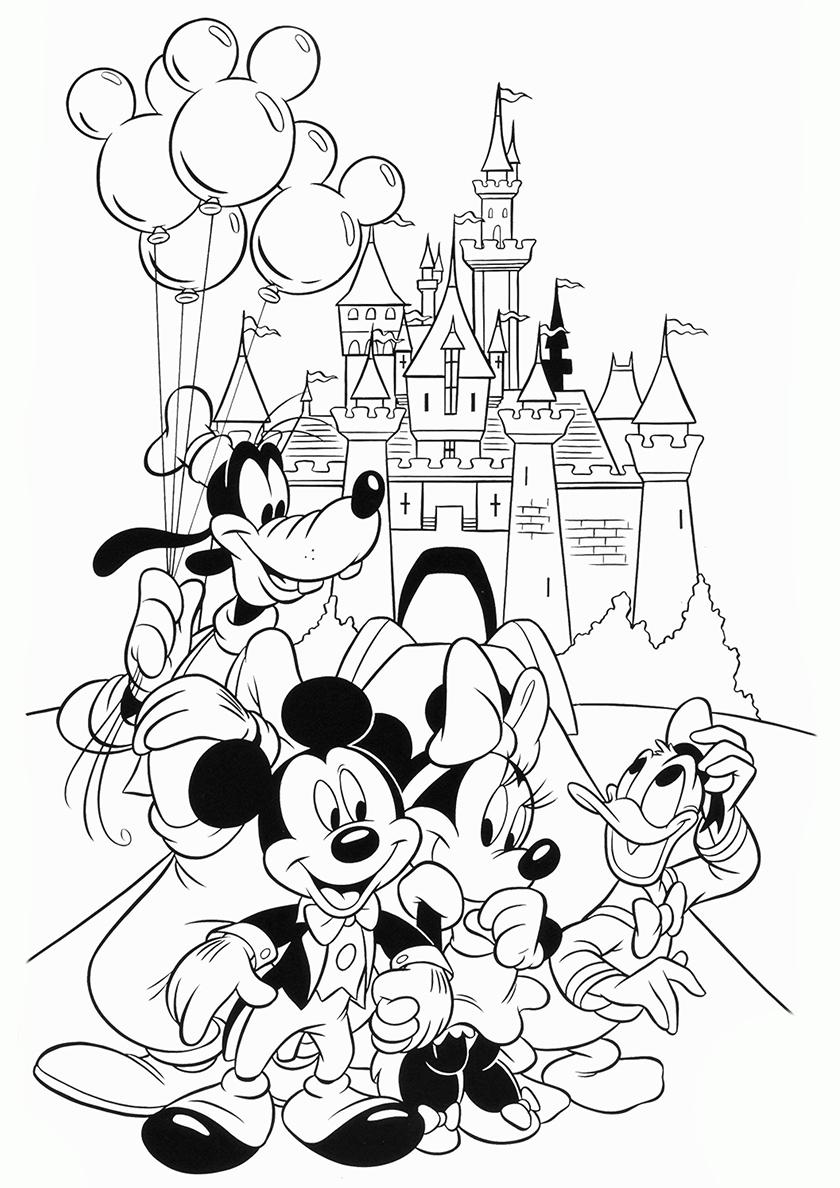Раскраска Друзья после праздника распечатать | Микки Маус