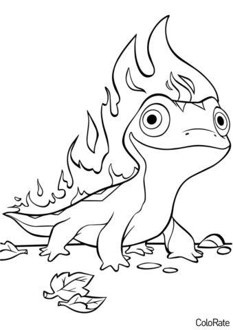 Дух стихии огня Бруни бесплатная раскраска - Холодное сердце