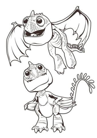 Раскраска Два детеныша дракона распечатать на А4 и скачать - Драконы