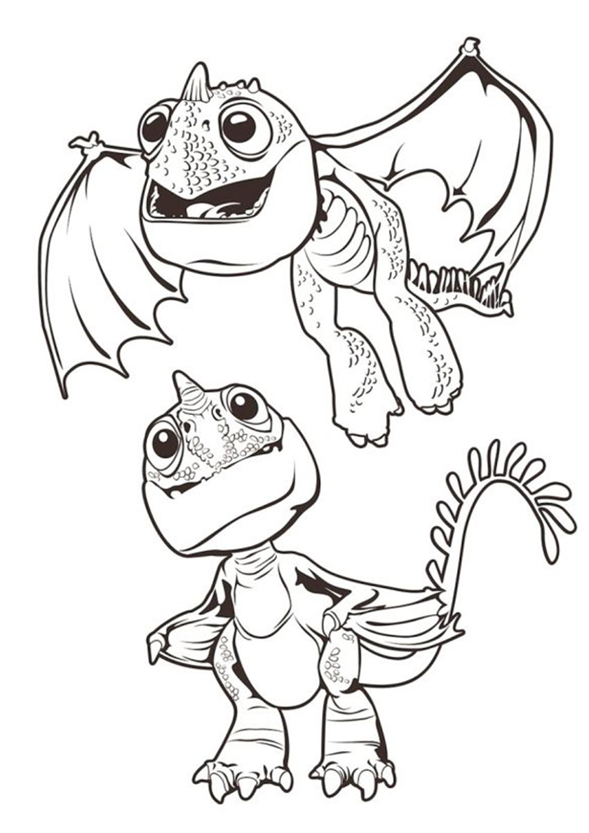 Раскраска Два детеныша дракона распечатать | Драконы