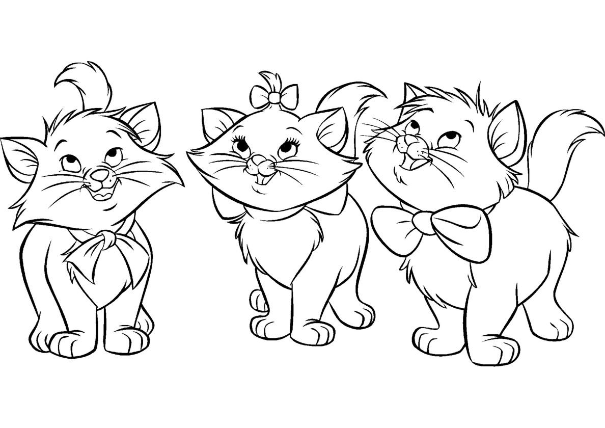 Раскраска Два кота и кошечка распечатать | Коты, кошки, котята