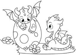 Два новорожденных дракончика (Драконы) распечатать раскраску