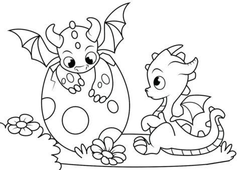 Раскраска Два новорожденных дракончика распечатать | Драконы