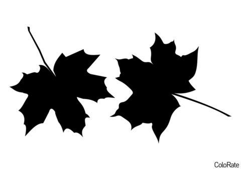 Трафареты листьев распечатать трафарет на А4 - Два осенних листочка