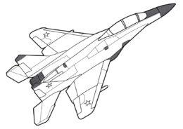 Раскраска Двухместный истребитель МиГ-35Д распечатать на А4 - Самолеты