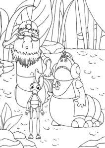 Дядя Корней, Кузя и Пупсень раскраска распечатать бесплатно на А4 - Лунтик