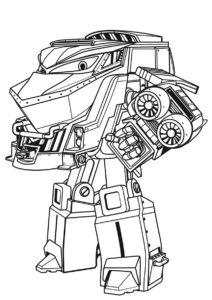 Роботы-поезда распечатать раскраску на А4 - Дюк