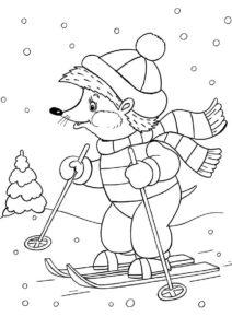 Зима бесплатная раскраска - Ежик на лыжах