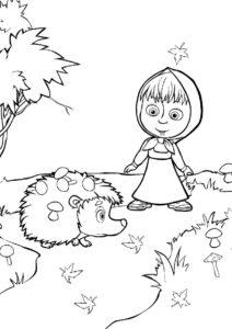 Ежик с грибами на колючках бесплатная раскраска - Маша и Медведь