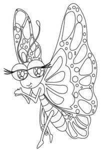 Экстравагантная модница (Бабочки) распечатать раскраску