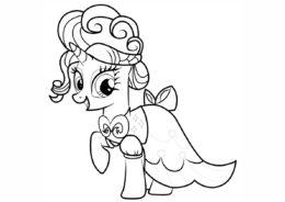 Раскраска Элегантная пони распечатать и скачать - Рарити