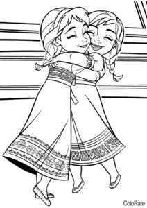 Эльза и Анна в детстве распечатать раскраску - Холодное сердце