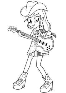 Эпплджек с гитарой бесплатная раскраска - Эпплджек