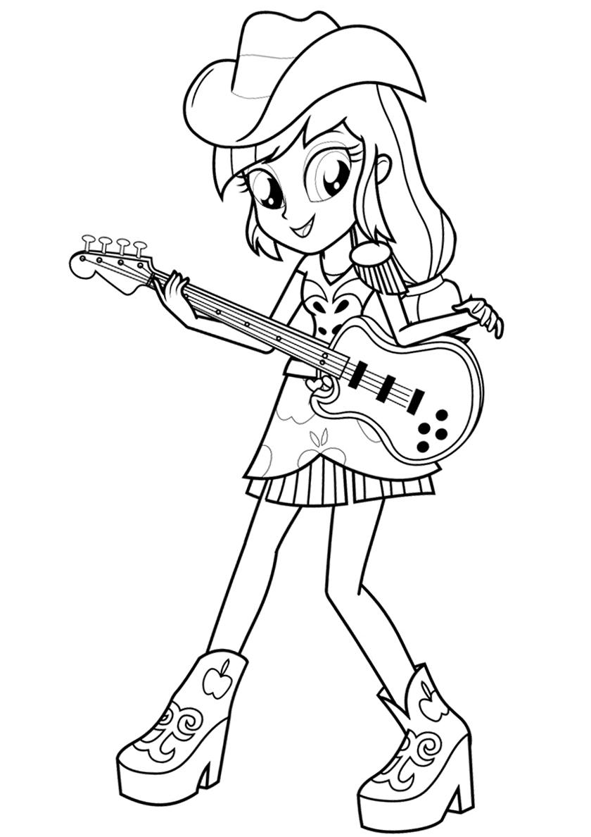 Раскраска Эпплджек с гитарой распечатать | Эпплджек
