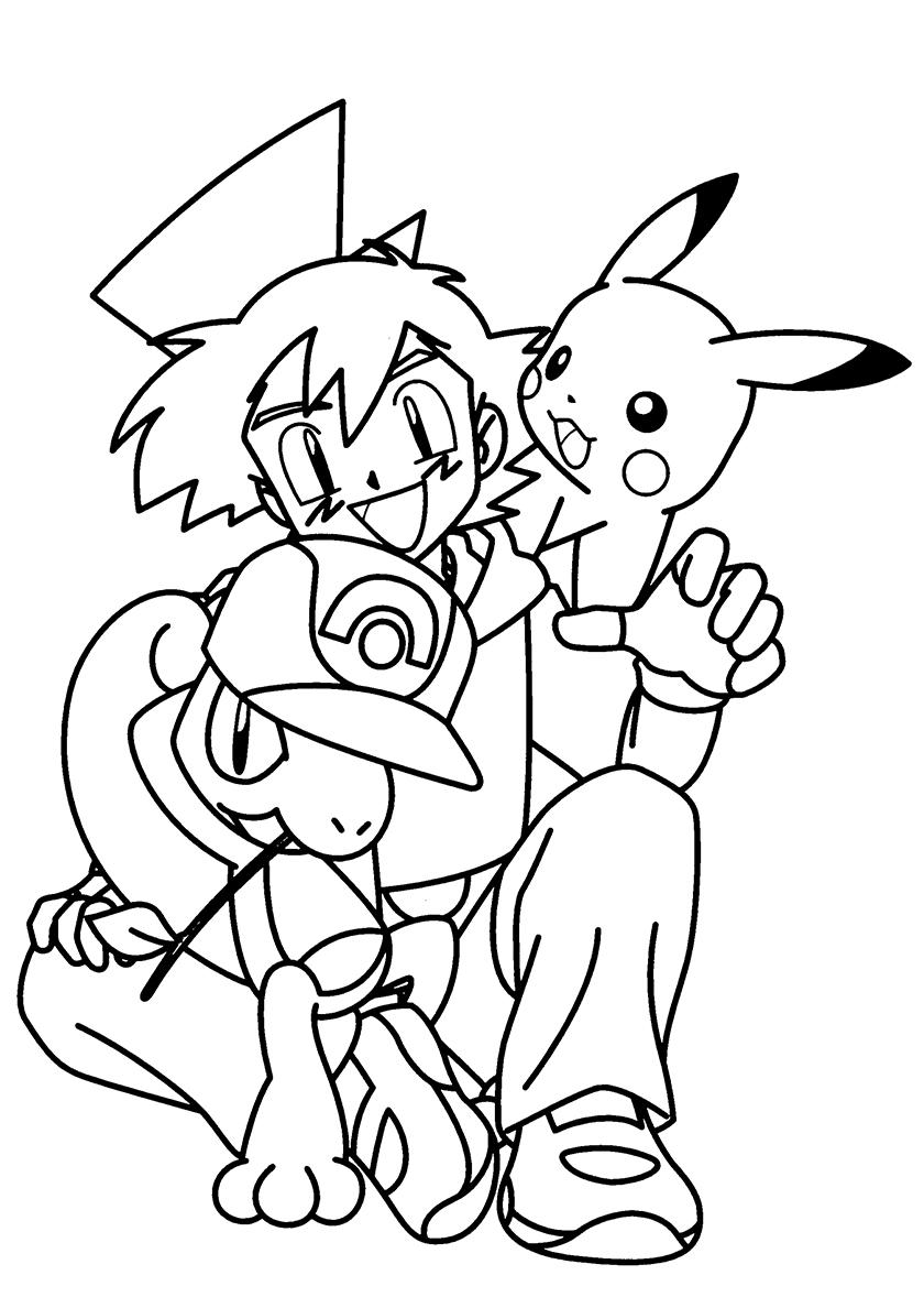 Раскраска Эш Кетчум и покемоны распечатать | Покемоны