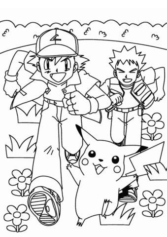 Эш Кетчум с друзьями - Покемоны раскраска распечатать на А4