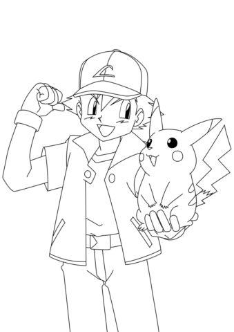 Эш с Пикачу в руке - Покемоны распечатать раскраску на А4