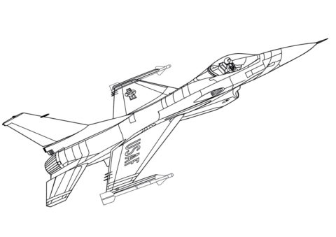 F-16 Атакующий сокол (Самолеты) распечатать раскраску