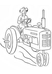Бесплатная раскраска Фермер на колеснике распечатать на А4 и скачать - Трактора