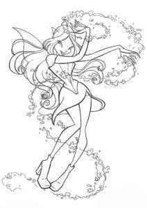 Фея-хранительница Линфеи разукрашка скачать и распечатать - Флора
