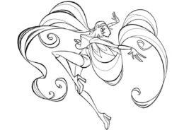 Фея-хранительница Солярии - Стелла распечатать раскраску на А4
