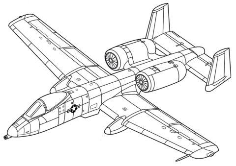 Бесплатная раскраска Фэйрчайлд Рипаблик A-10 Тандерболт II распечатать и скачать - Самолеты