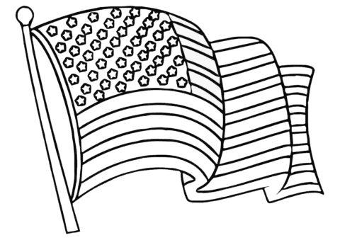Распечатать раскраску Флаг Америки - Флаги и гербы