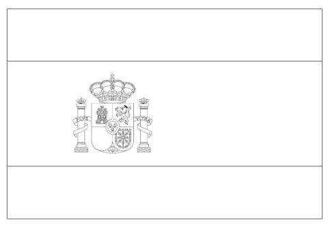 Бесплатная раскраска Флаг Испании распечатать на А4 - Флаги и гербы