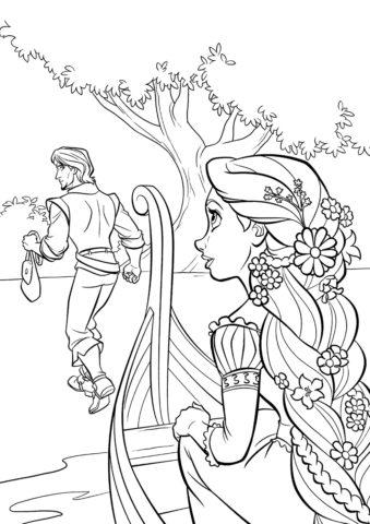 Бесплатная раскраска Флин предает девушку распечатать на А4 и скачать - Рапунцель