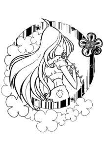 Флора целует розу (Клуб Винкс) разукрашка для печати на А4